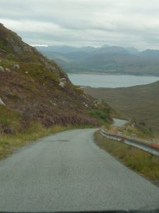 Narrow road leading to ferry landing to take you from Skye to the mainland