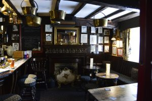 Rich dark woods dominate the pub at the George and Dragon Inn