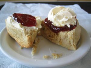 Food term Clotted cream and scone is creamy decadance
