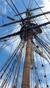Mast of the ship towers high above