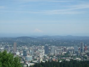 Downtown Portland looking toward Mt. Hood