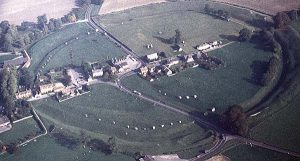 The remaining perimeter standing stones at Avebury seen from aerial view