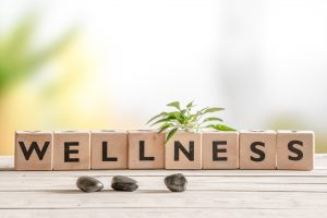 Scrabble tiles spell wellness